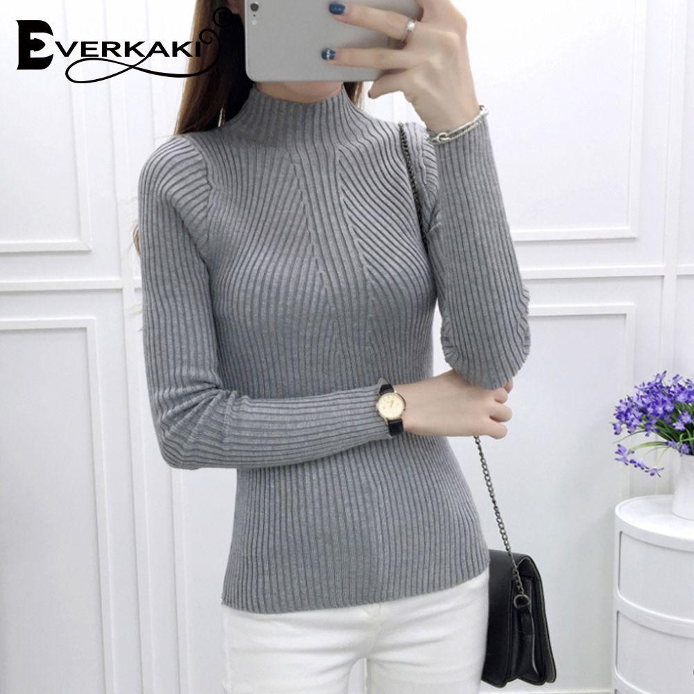 Everkaki 2017 Winter Women sweater Long Sleeve high elastic Knitted Pullovers Sweater Women Turtleneck Autumn Sweater Slim Warm