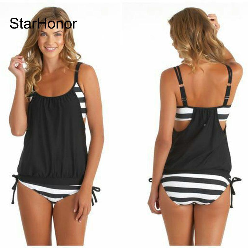 StarHonor femme rayé plage maillot de bain Bandage Patchwork une-pièce Bikinis ensemble Push Up Strappy maillot de bain maillots de bain grande taille