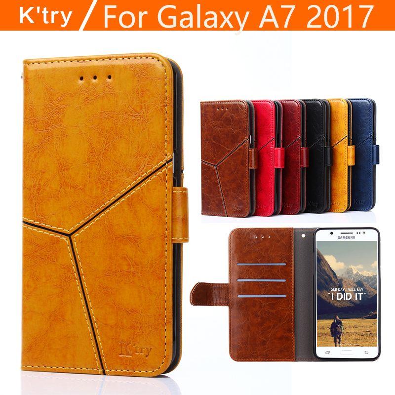 Pour Samsung Galaxy A7 2017 Cas K'try Hight Qualité De Luxe Flip Cas de Stand en cuir Pour Samsung A7 2017 A720 Avec Porte-Cartes