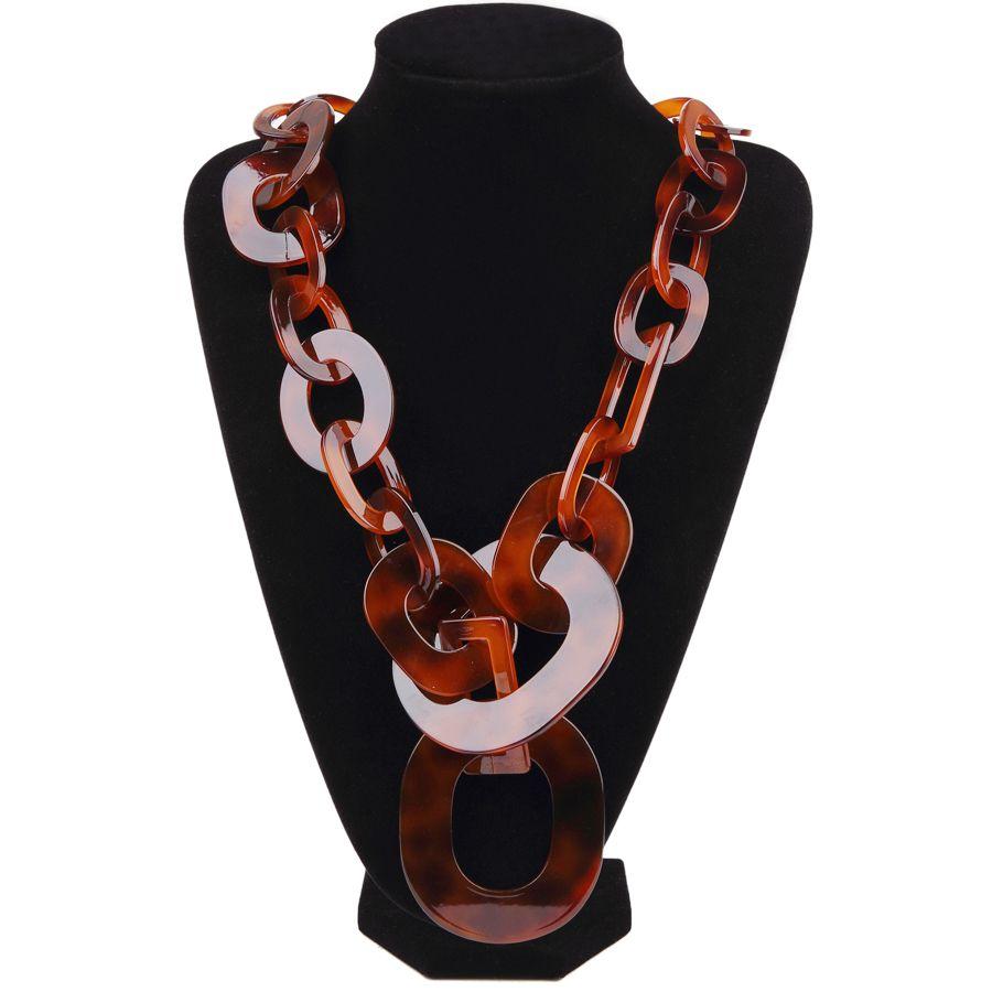 BOJIU nouvelle mode longue grande chaîne colliers pour femmes Boho marron tortue acrylique colliers chaude femme bijoux accessoires NK1006