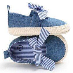Bebé Niñas princesa Zapatos Infant Toddler cuna bebe niños Primeros pasos lona rayas arco grande Soft soled antideslizante Zapatos