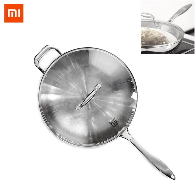 High Quality Xiaomi Mi Home Healthy Non-stick Stainless Steel Saute Frying Pan with Glass Lid Silver Oven & Dishwasher safe