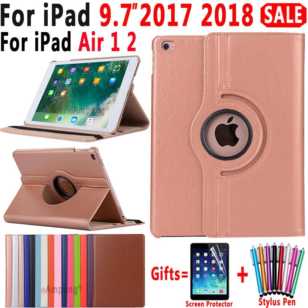 360 Degrés de Rotation En Cuir étui intelligent pour Apple iPad Air 1 Air 2 5 6 Nouvel iPad 9.7 2017 2018 5th 6th Génération Coque Funda