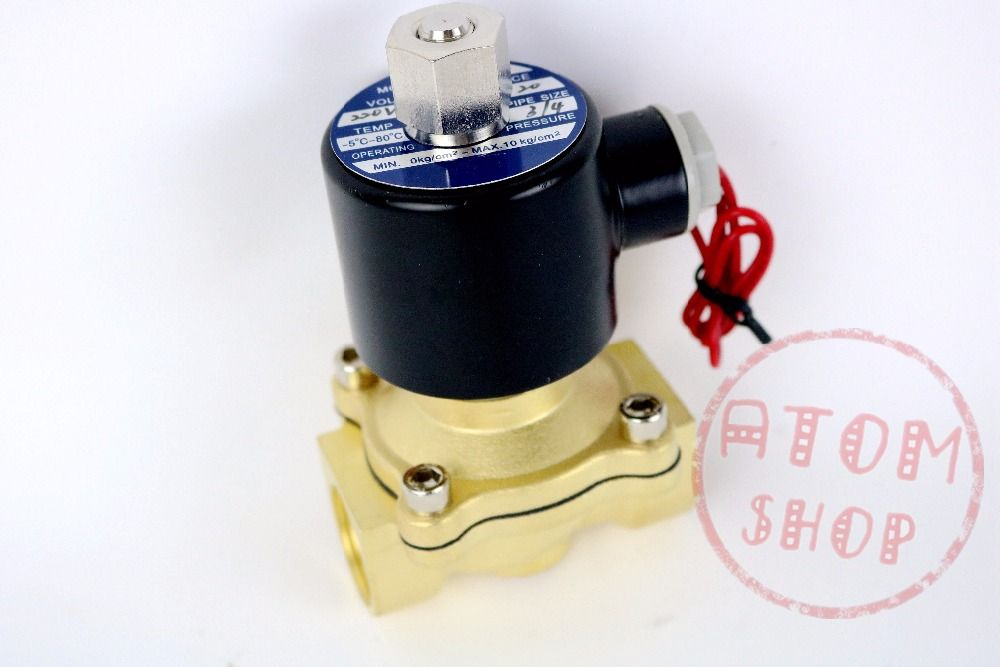 3/4 Inch Brass Electric Solenoid Valve Water Air Fuels N/C 2W-200-20 DC12V 24V AC110V 220V ok