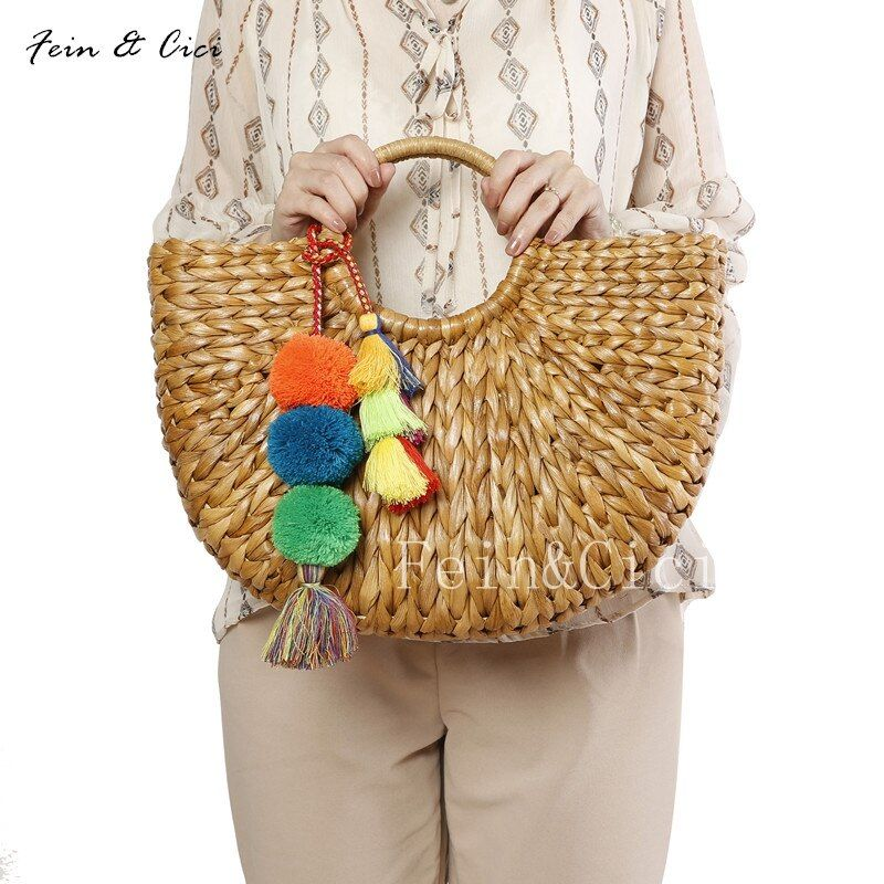 beach bag straw basket totes bag bucket large big summer bags with tassels pom pom women natural handbag 2017 new high quality