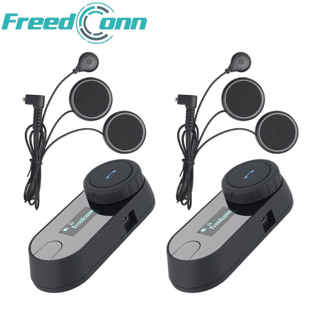 2 pcs FreedConn Motorcycle Bluetooth Headset TCOM-SC Moto Intercom With LCD Screen FM Soft Mic for Integral/Full Face Helmet
