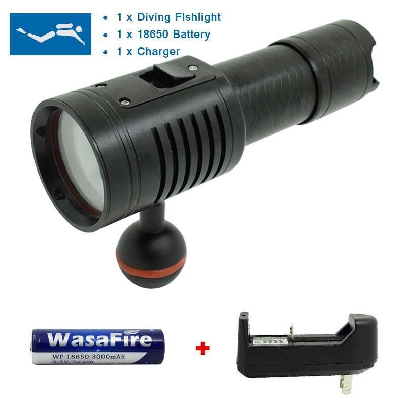 3800 Lumen XM-L2 U2 Underwater Lamp Diving Light Scuba Dive LED Torch Flashlight 26650 18650 100 Meter Waterproof Video Lighting