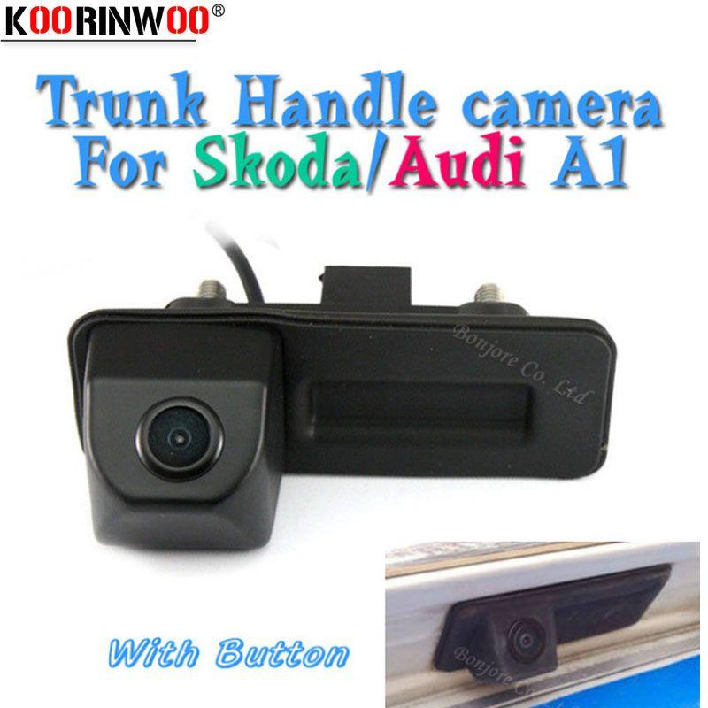 Koorinwoo HD CCD Parking Car Rear View Trunk Handle Button Camera Reverse For Skoda/Octavia/Fabia/Superb/Roomster/Yeti/Audi/A1