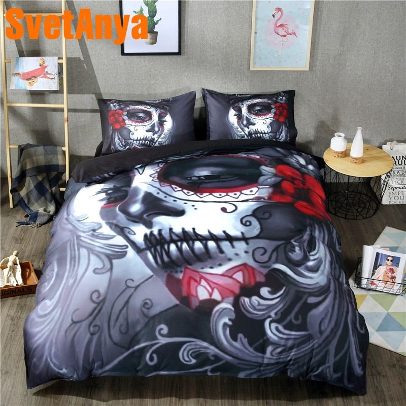 Svetanya Duvet Cover+Pillowcases Cotton 3pc Bedding Sets Single Double Queen King Size Skull Printed