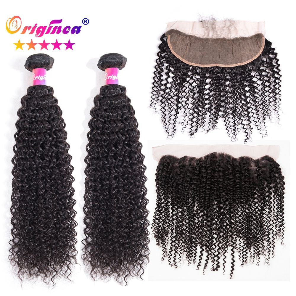 Originea Malaysian 13x4 Lace Frontal Closure With Kinky Curly Remy Human Hair 2 Bundles Salon Hair Bundle With 13x4 Lace Closure