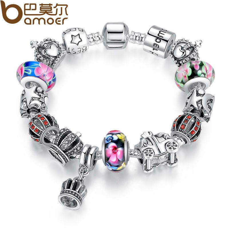 BAMOER Authentic Silver Retro Fashion Crown Pendants Colorful Murano Beads 925 Bracelets for Christmas Present PA1868