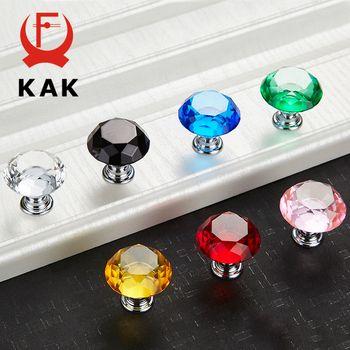 KAK 30mm Conception De Forme De Diamant En Cristal En Verre Boutons Armoires Poignées de Tiroir Boutons D'armoires de Cuisine Poignées de Meubles Poignée Matériel