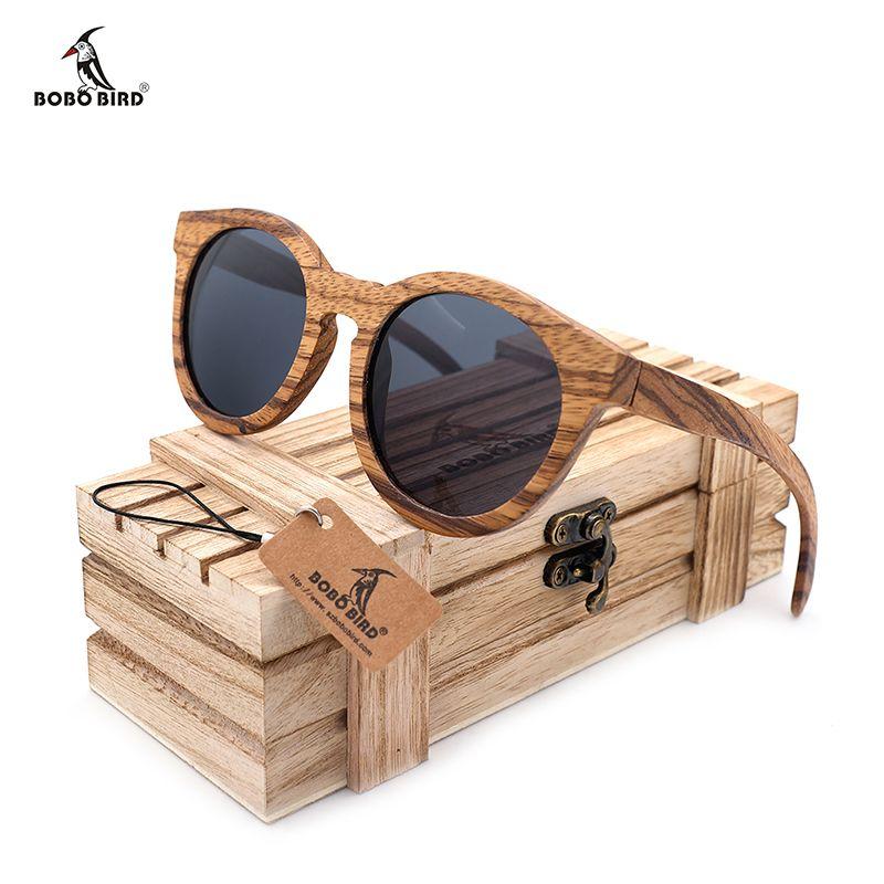 BOBO BIRD hommes Vintage en bois bambou lunettes de soleil polarisées revêtement miroir femmes zèbre bois lunettes de soleil gafas de sol hombre