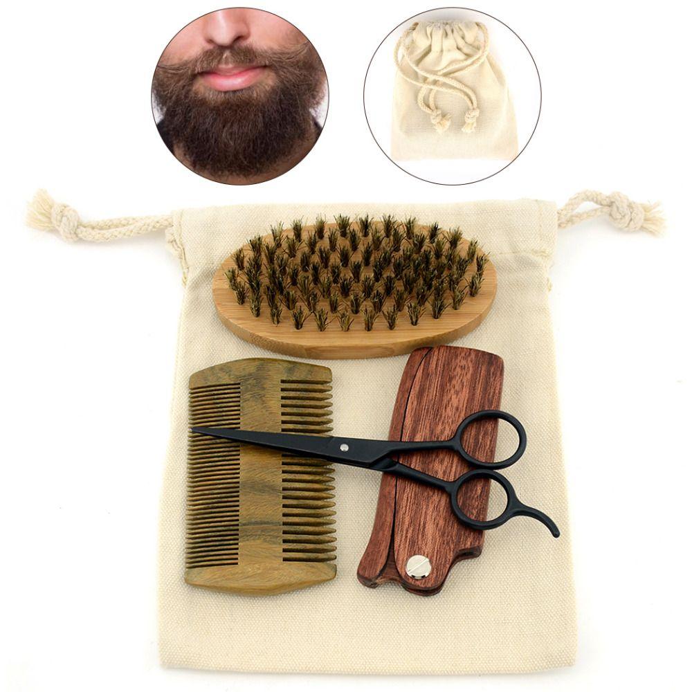 ZY Men Shaving Bristles Bamboo Brush Kit Mustache Beard Scissor Shear Natural Sandal Wood Folding Comb + Free Canvas Bag