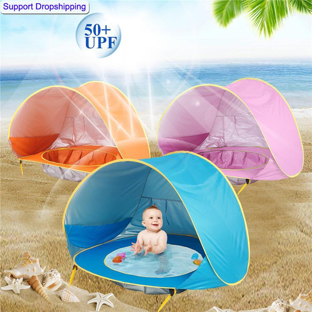 Bébé plage tente enfants imperméable Pop Up soleil auvent tente protection UV abri solaire avec piscine enfant Camping en plein air parasol plage