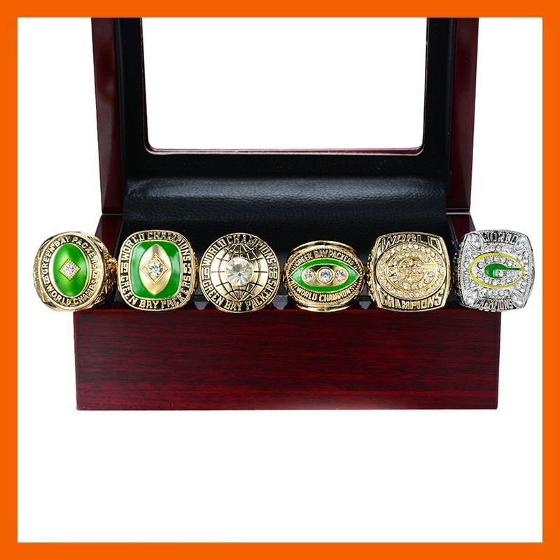 NEW SUPER HIGH QUALITY 1961 1965 1966 1967 1996 2010 GREEN BAY PACKERS CHAMPIONSHIP RING, 6 PCS RING SET COLLECTION