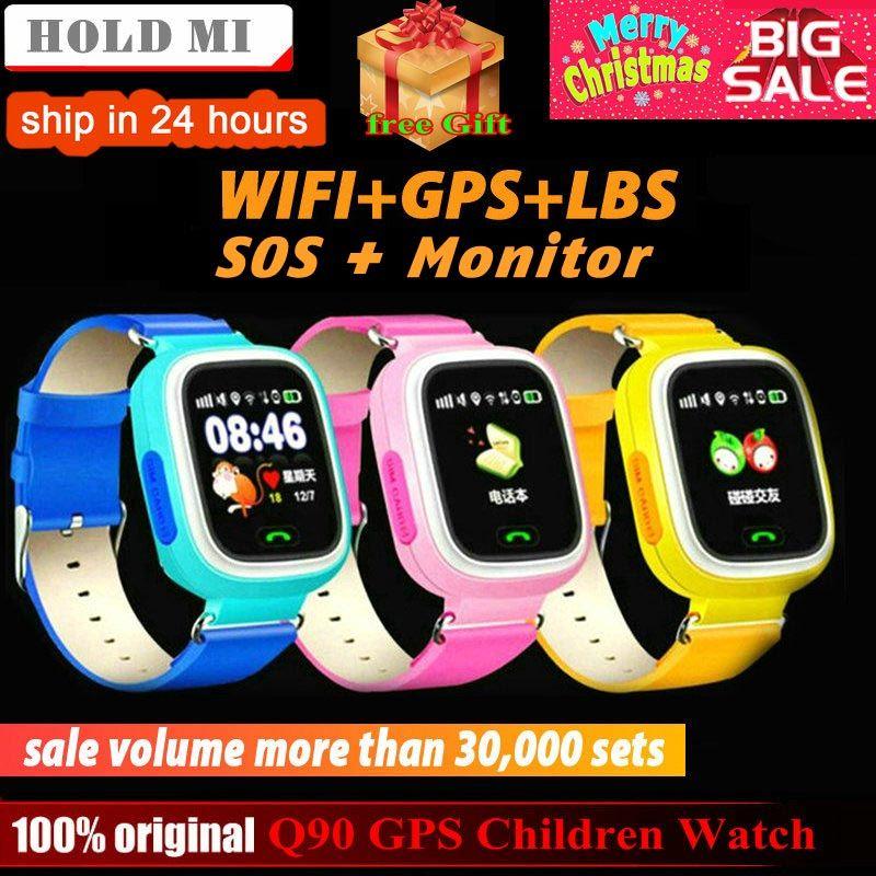 Q90 GPS Enfant Montre Smart Watch Téléphone Position Enfants Montre 1.22 pouce Couleur Écran Tactile WIFI SOS Smart Bébé Montre Q50 q80 q60 Montre