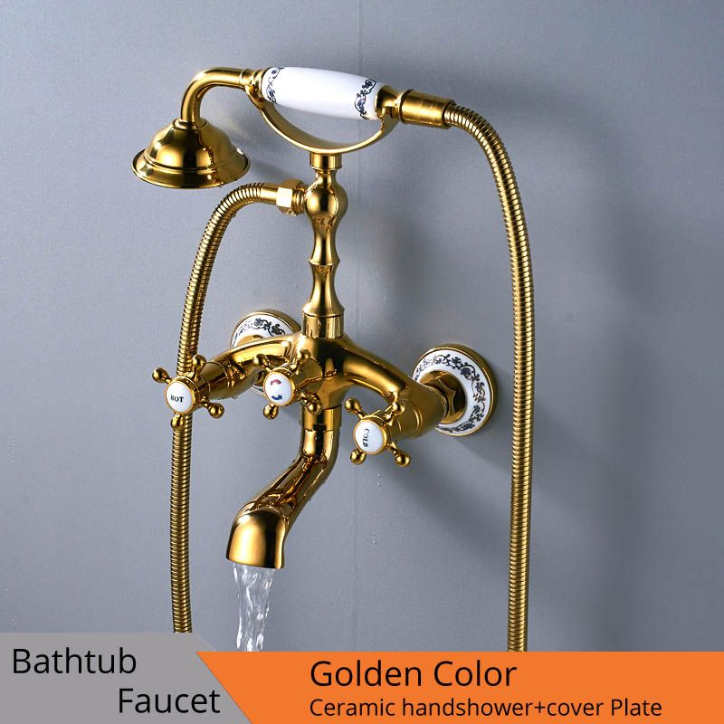Luxury Bathtub Faucets Gold Brass Bathroom Faucet Mixer Tap <font><b>Wall</b></font> Mounted Hand Held Shower Head Kit Shower Faucet Sets