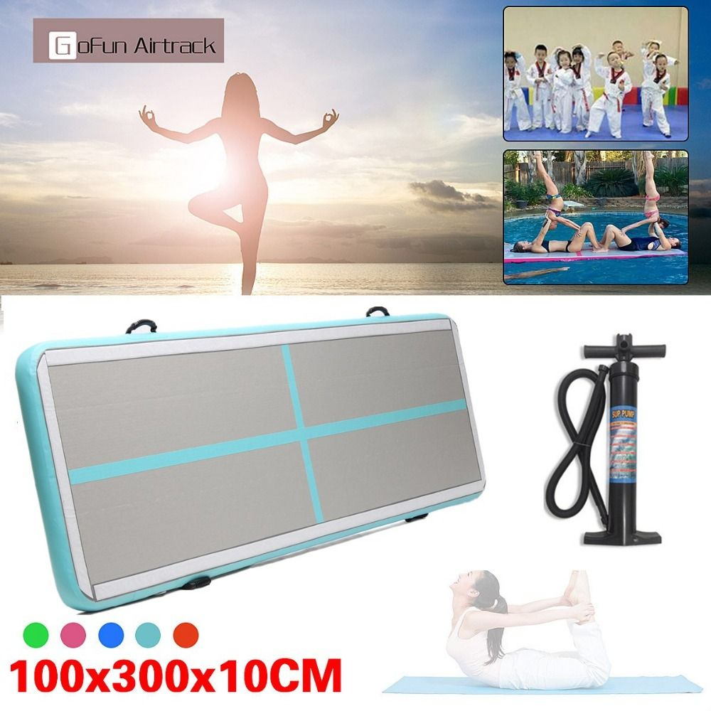 118x39x4inch Airtrack Air Track Floor Home Inflatable Gymnastics Tumbling Mat GYM With Manual pump