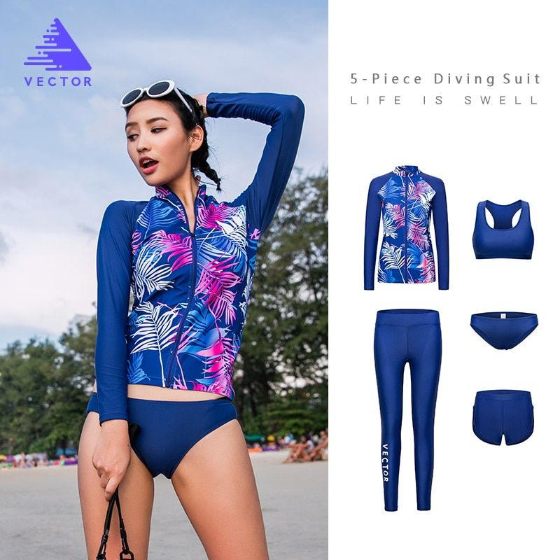 VECTOR Super Strech Surfing Diving Rash Guards for Women Swimming Rowing Sailing Surfing Rashguards Wetsuit 5 Piece Swimwear