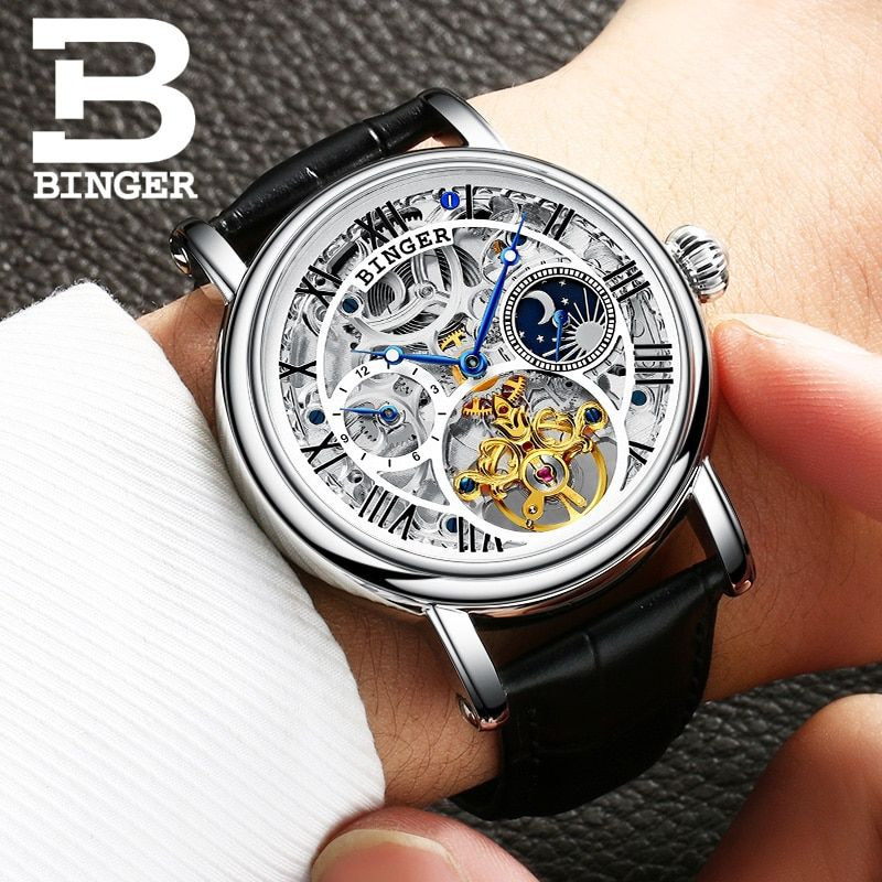 Switzerland BINGER watches men luxury brand Tourbillon Relogio Masculino water resistant Mechanical Wristwatches B-1171-4