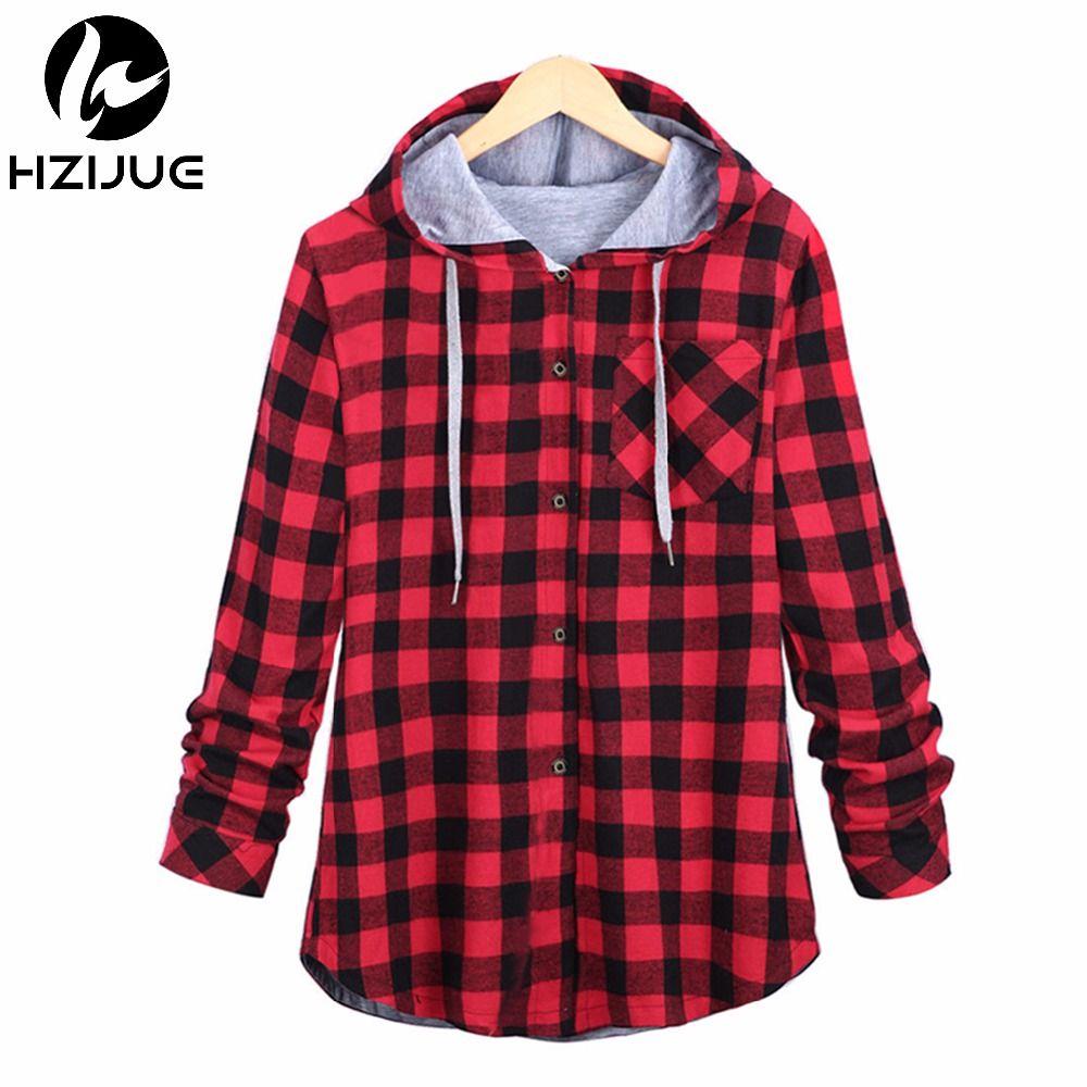 HZIJUE Fashion Women Hoodies Cotton <font><b>Autumn</b></font> Winter Coat Long Sleeve Plaid cotton Hoodies Casual button hooded Sweatshirt Oversize