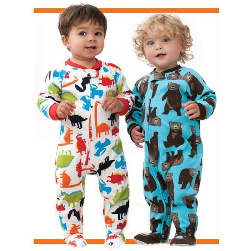 Marque étrangère haute qualité garçons et filles polaire avec pied pièce escalade vêtements justaucorps barboteuse chaud pyjamas survêtement