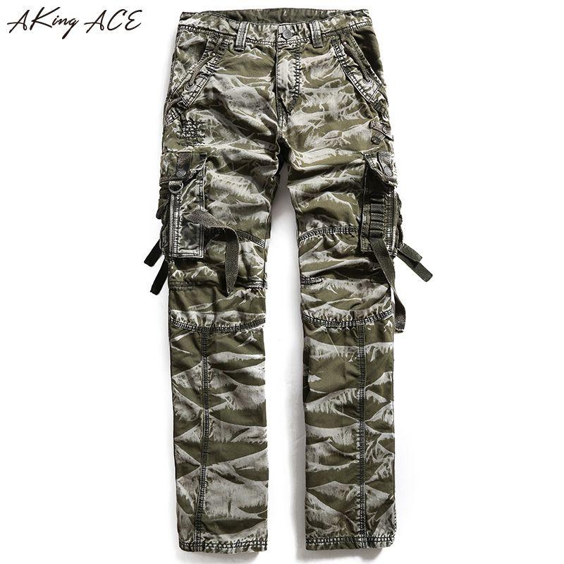 Новинка 2017 года Aking Ace Для мужчин S Камуфляж Cargo Штаны Для мужчин мужские армейские брюки большие размеры военный камуфляж Штаны Moto Mutil карман...