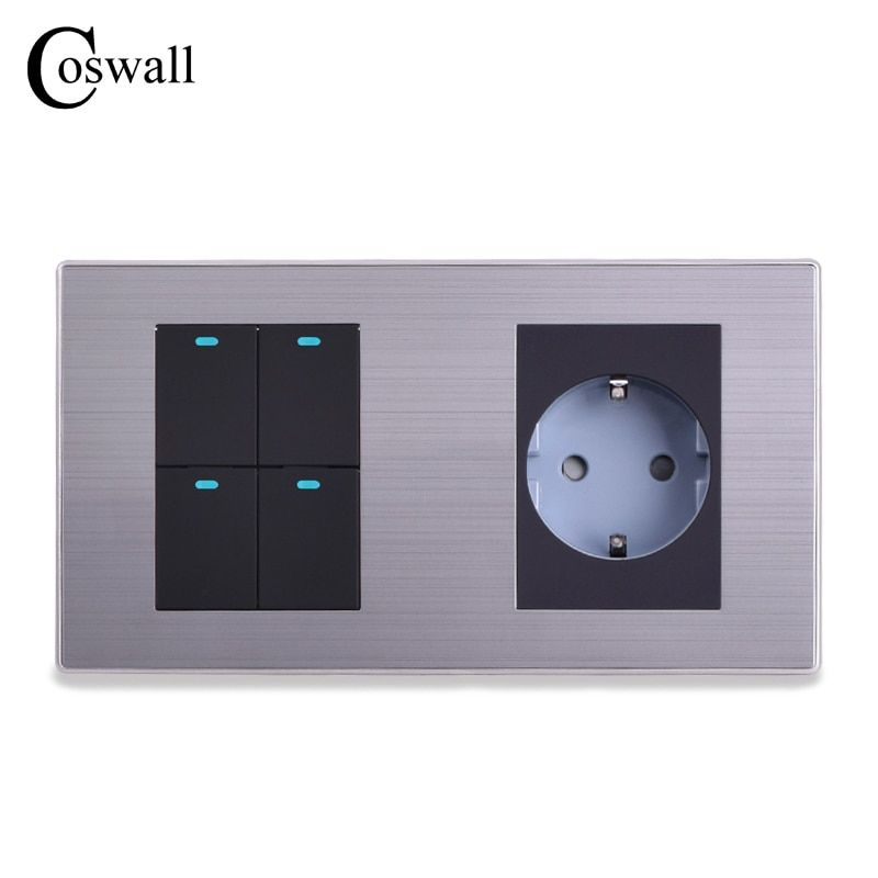 COSWALL EU Standard Wall Socket + 4 Gang 2 Way Push Button Light Switch With LED Indicator Stainless Steel Panel 160*86mm