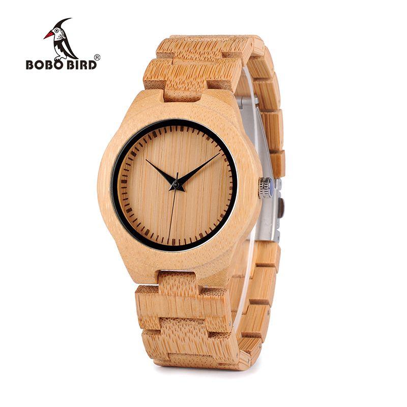 BOBO BIRD Bamboo Lovers Watches Timepieces Wood Band Quartz Wristwatch for Lovers relogio <font><b>feminino</b></font> Drop Shipping