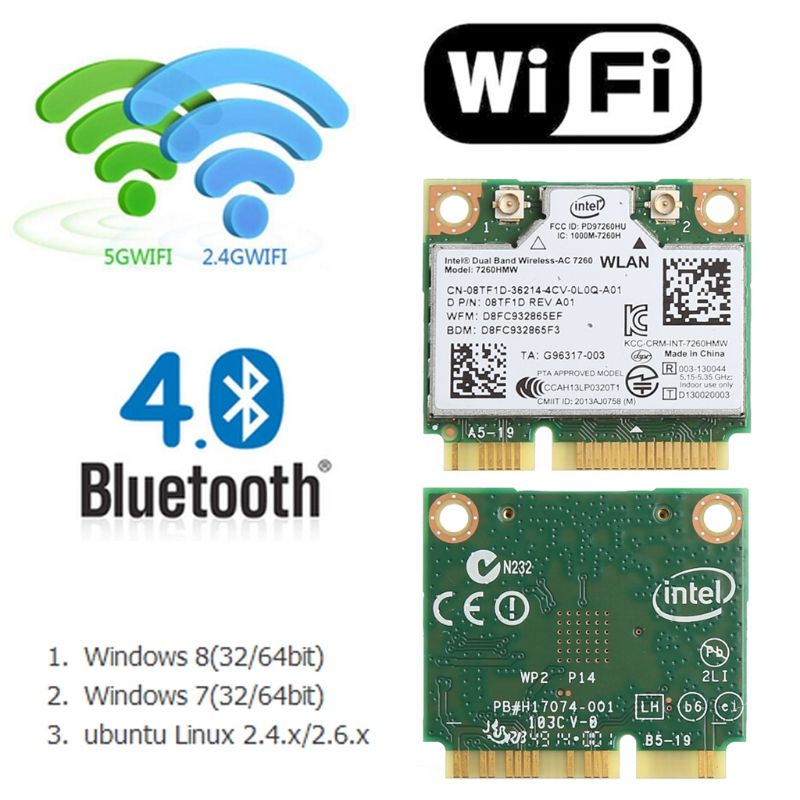 2019 nouvelle 876 M double bande 2.4 + 5G Bluetooth V4.0 Wifi sans fil Mini carte pci-express pour Intel 7260 AC pour DELL 7260HMW CN-08TF1D
