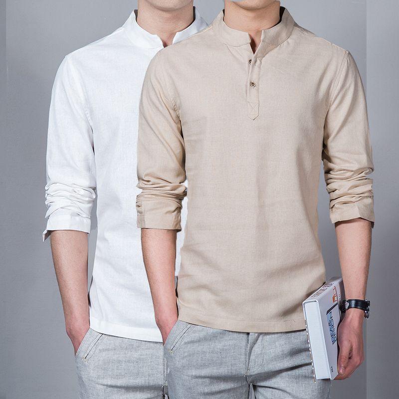 Hommes Vêtements de 2018 Hommes Printemps Tops & T-shirts Homme Mode T-Shirts Col montant à manches longues Mince Base Chemise homme t-shirt en Lin