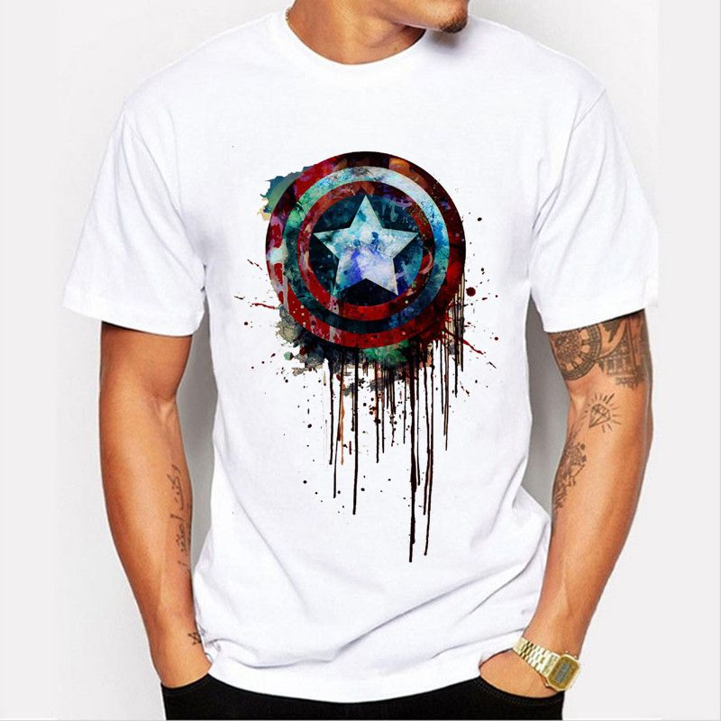 Captain America bouclier de peinture imprimé t-shirts Super Hero T-Shirt Hulk/Thor Film T-shirts Geek Tee 90-3 #