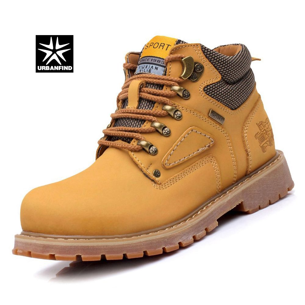 URBANFIND Lace-Up Men Fashion Boots EU 38-44 Durable Rubber Sole Man Nubuck Leather Ankle Shoes Brown / Yellow