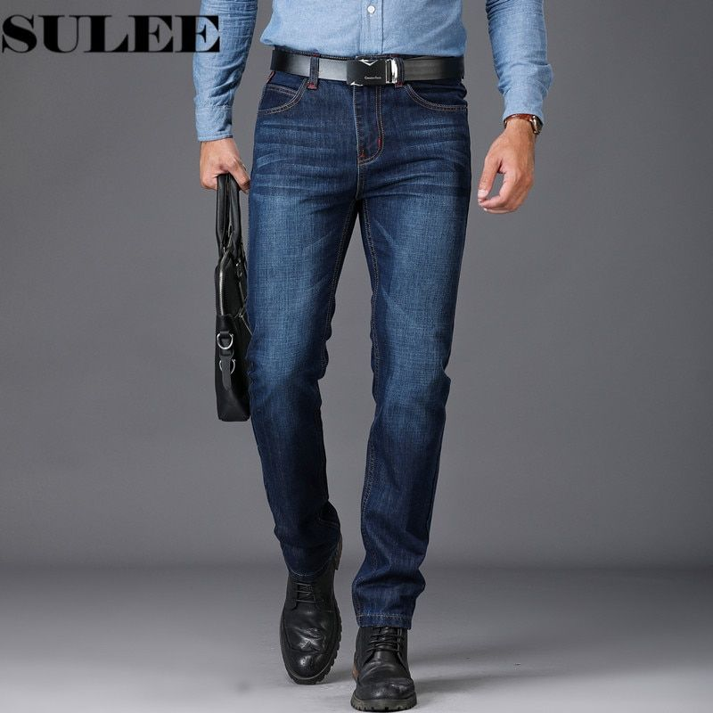 SULEE Brand European American Style Stretch Men Jeans Luxury Men's Denim Trousers Slim Straight Deep blue Gentleman Mens Stretch
