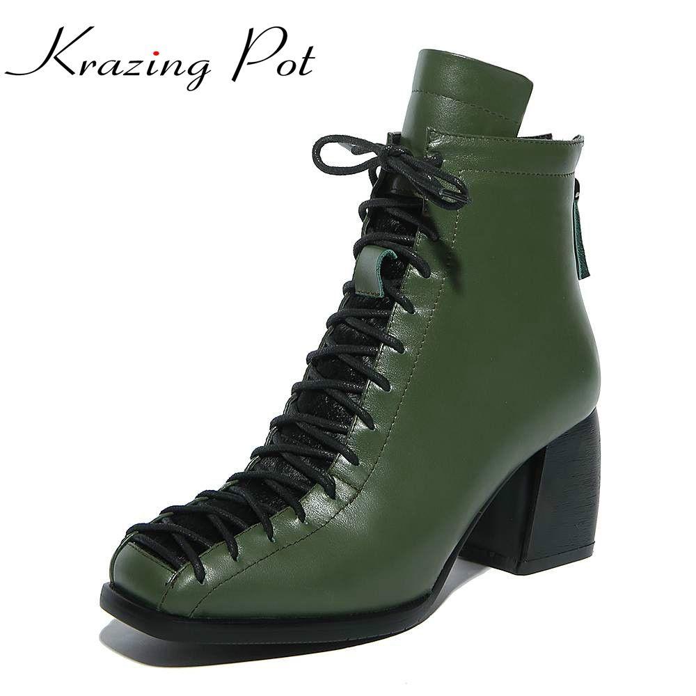 Модные с квадратным носком на шнуровке натуральная кожа одноцветное телесного цвета женские ботильоны на толстом каблуке Брендовая женска...