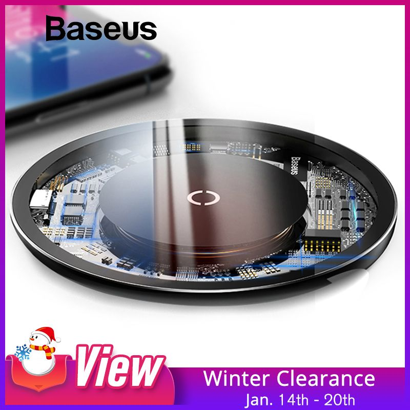 Baseus 10W Qi Wireless Charger for iPhone X/XS Max XR 8 Plus Visible Element Wireless Charging pad for Samsung S8 S9/S9+ Note 9