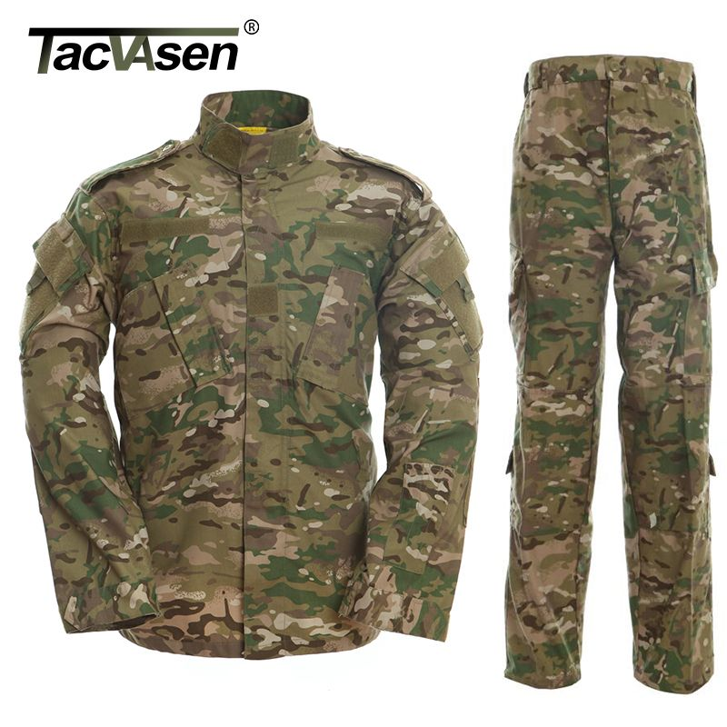 TACVASEN CP Camouflage Army Military Uniform Men tactical Cargo Pants Bdu Combat Uniform Army Men's Clothing Sets TD-WHFE-007