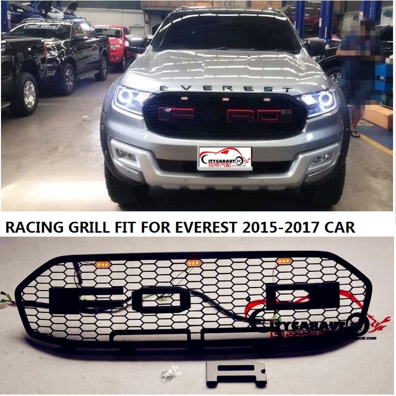 CITYCARAUTO led raptor Grill ABS Black Front Grill trim suitable FIT for Everest endeavour grills cover WITH free shipping