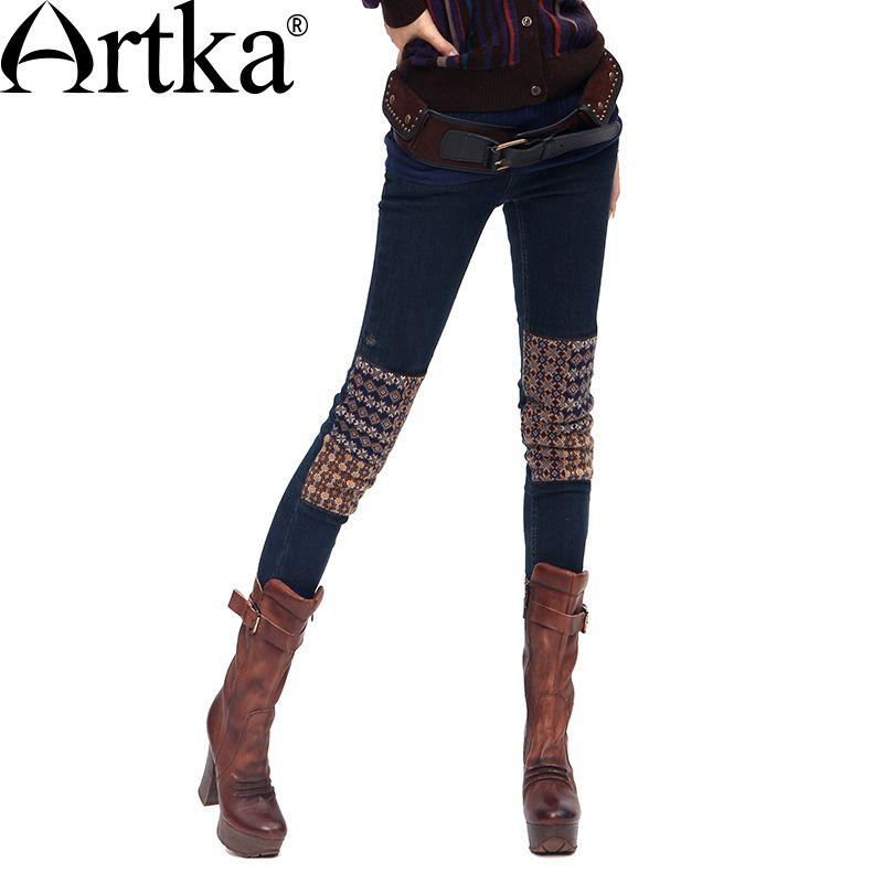 Artka Femmes Crayon de Pantalon Skinny Jeans Patchwork Poches Fermetures À Glissière Bouton Peau Serré Chaud D'hiver Tricoté Élastique Jeans KN16135D