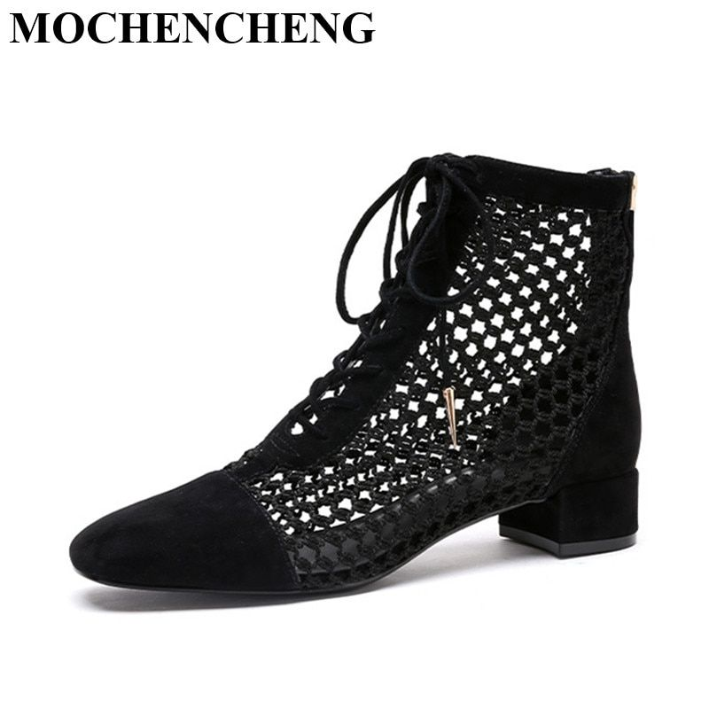 New Women Sandals for Spring Summer Sexy Black Hollow Mesh High Heel Pumps Breathable Comfotable Lace-up Female Casual Shoes