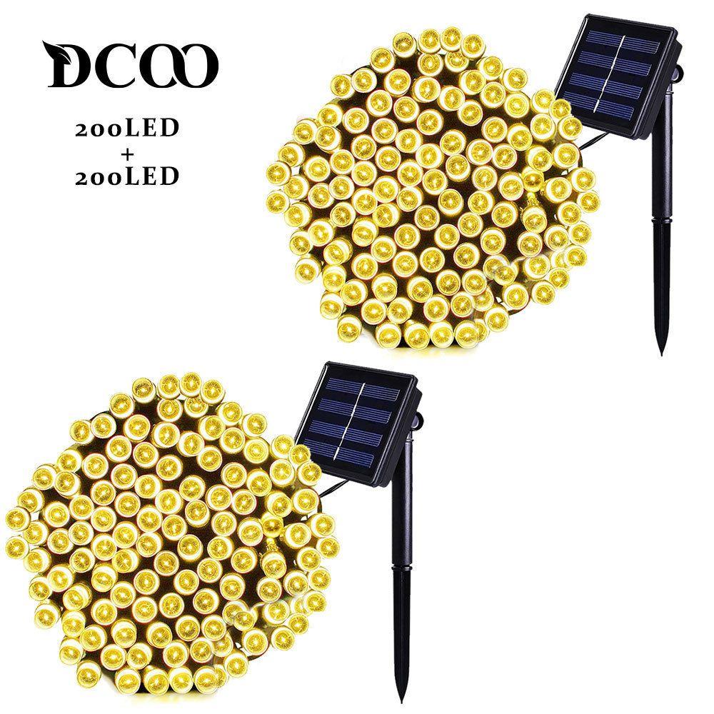 Dcoo 2 pièces cordon LED solaire lumières 22m 72ft 200 LED s 8 Modes éclairage extérieur chaîne lumières jardins étanche blanc chaud
