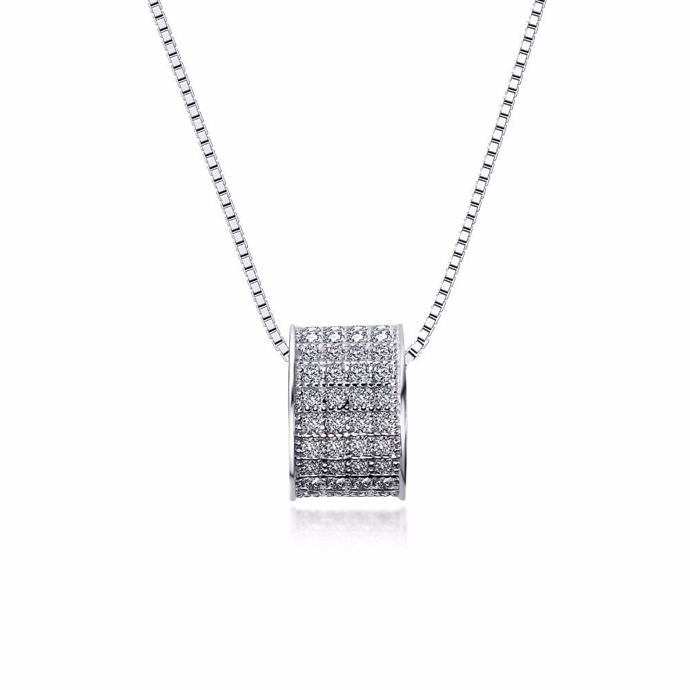 0.17 Ct CZ Round Silver Necklace For Lady Rhodium plated Luxury 925 sterling silver Pendant necklace sterling-silver-jewelry