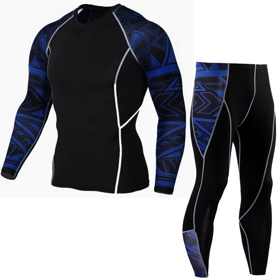 mma rashgard Long Sleeve Fitness Set Tights Men's Compression Elasticity Quick Dry Breath T-Shirt Tactical Men's T-Shirt XXXXL