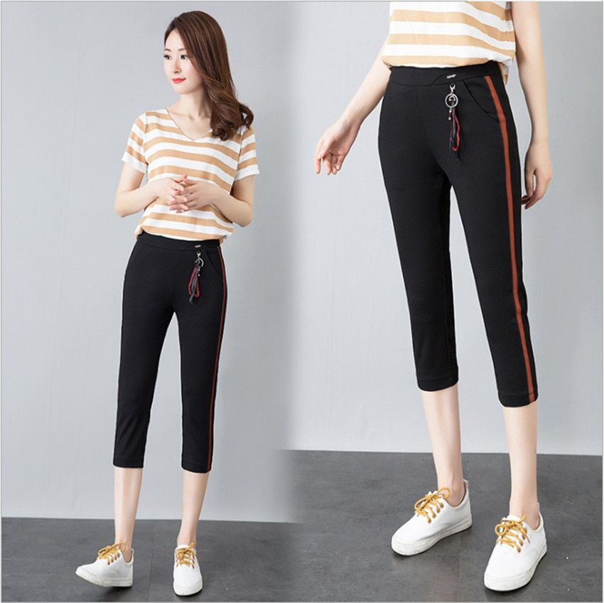 MLCRIYG New female slacks female han edition cultivate tall waist movement feet trousers
