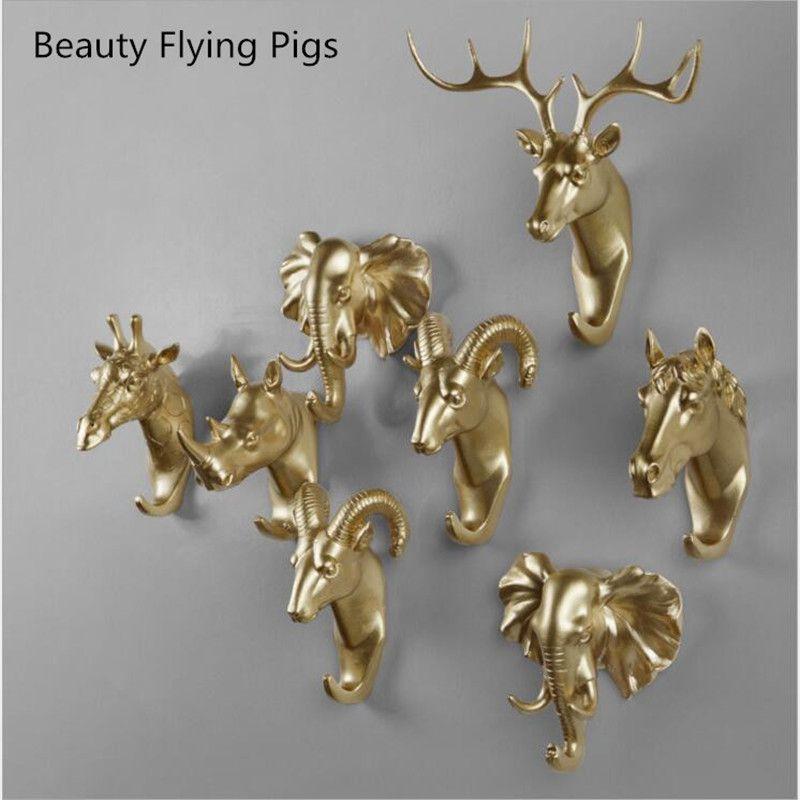 Animal créatif mur crochet crochet crochet rhinocéros cerf cheval chèvre décoratif créatif résine salle de bains femme de ménage sur therack