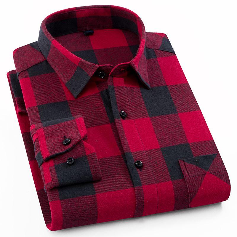 Men's 100% Cotton Casual Plaid Shirts Pocket Long Sleeve Slim Fit <font><b>Comfortable</b></font> Brushed Flannel Shirt Leisure Styles Tops Shirt