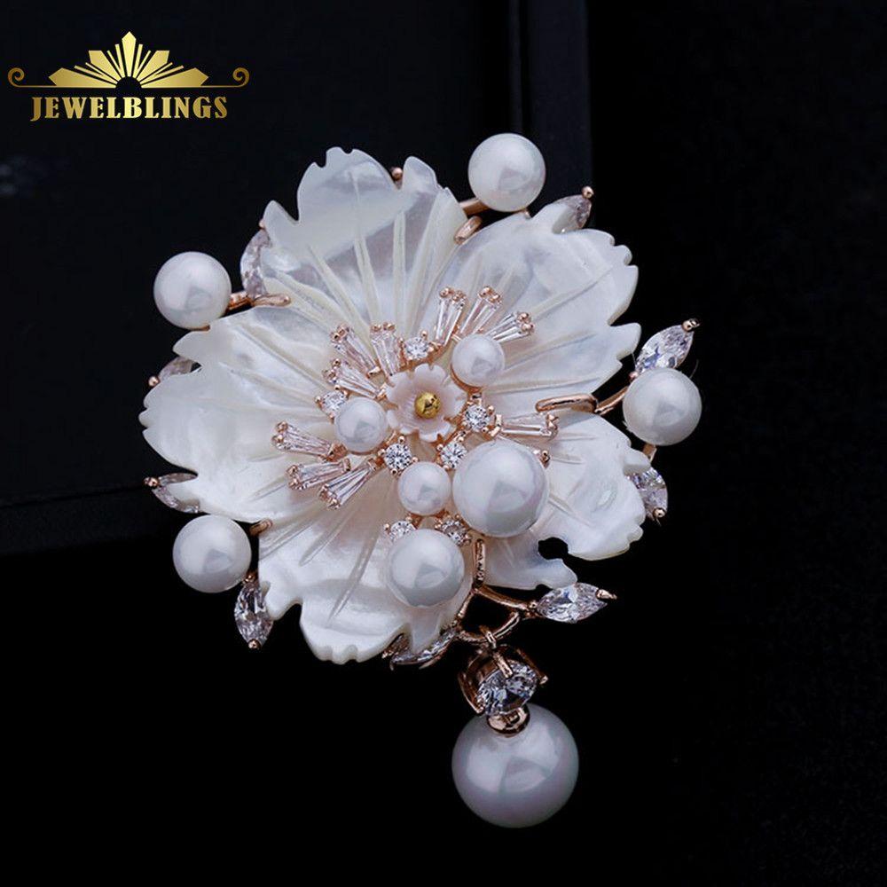 Superbe Vintage blanc nacre fleur broches CZ Marquise Rose or ton Pistil fleur de prunier Sakura broches broche bijoux