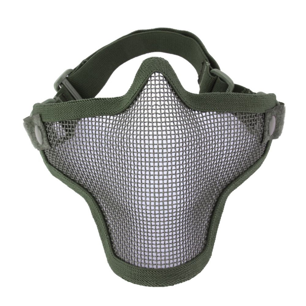 Half Lower Face Metal Steel Net Mesh Hunting Tactical Protective Airsoft Mask Gofuly free shipping