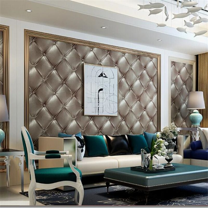 Beibehang Luxurious bedroom living room room imitation leather soft bag 3D wallpaper home decoration background wallpaper roll